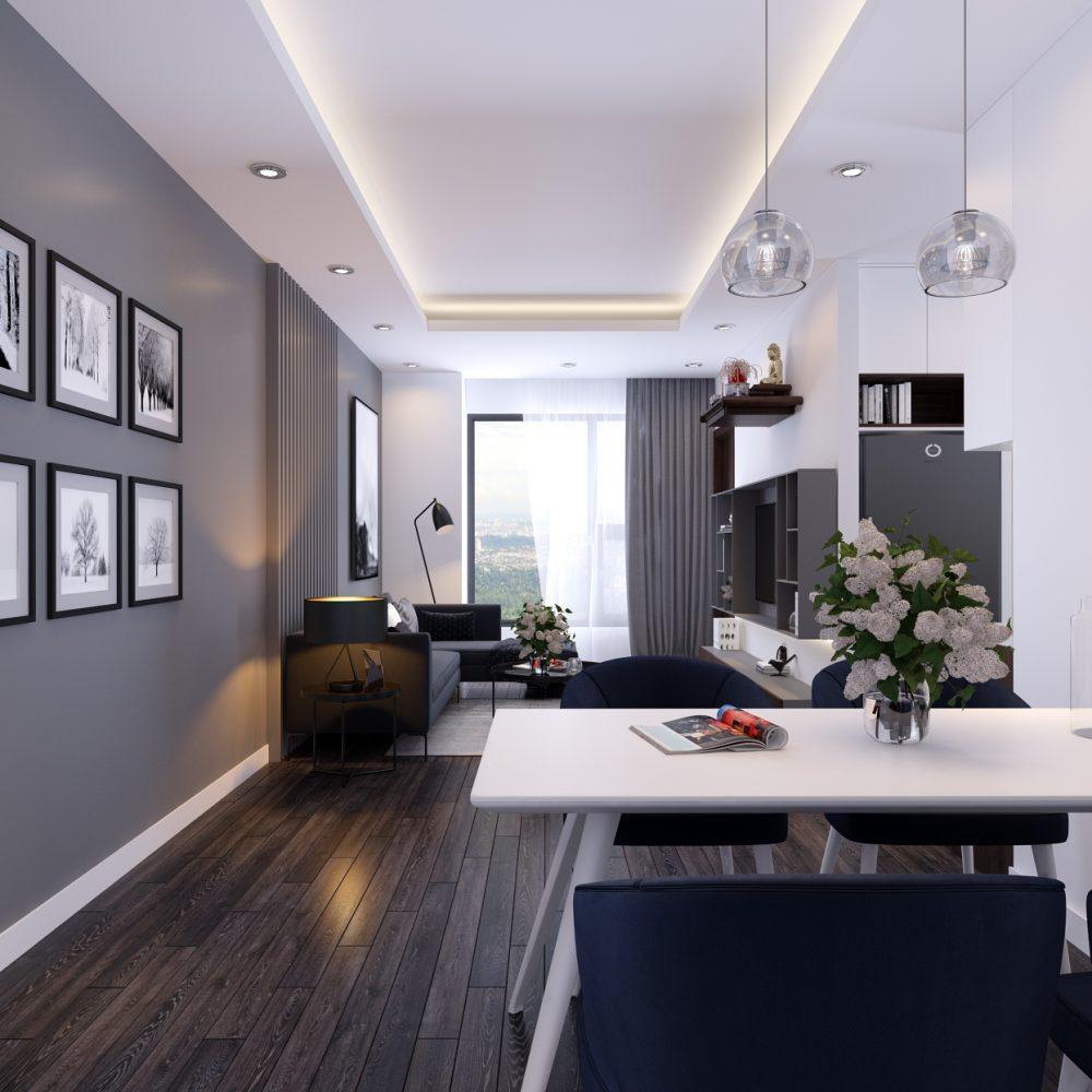 phòng khách và phòng ăn